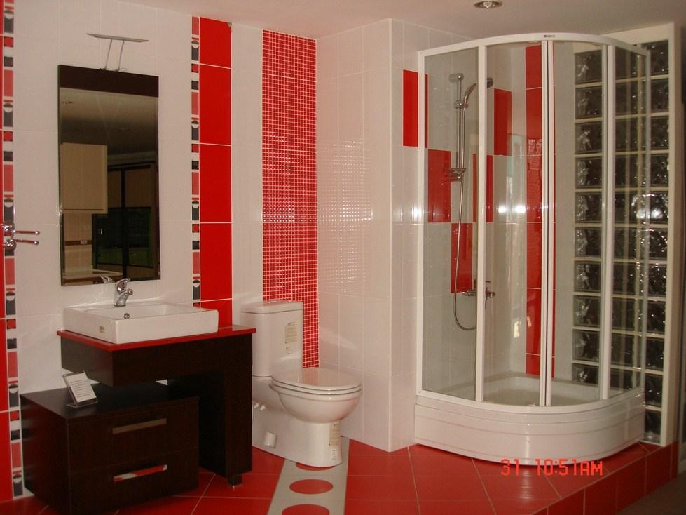 Ve fayans modelleri kırmızı beyaz modern seramik ve fayans