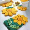Kabartma çiçek desenli en yeni banyo halı tasarımları