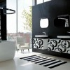 Modern siyah beyaz hareketli banyo örnekleri
