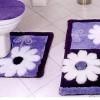 Mor beyaz renkli en yeni banyo halı tasarımları
