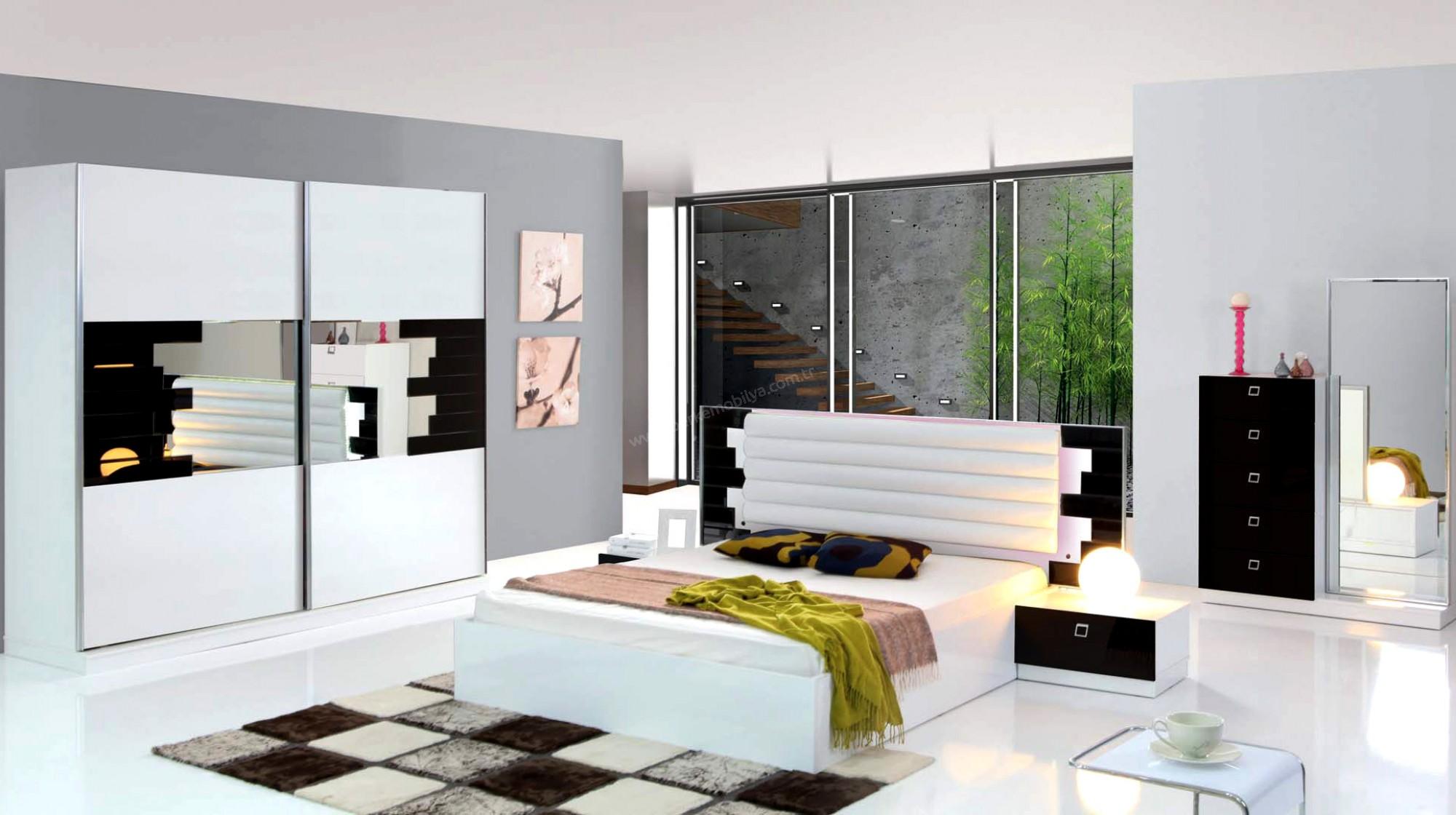 Beyaz siyah yatak odası yatak odası takımları
