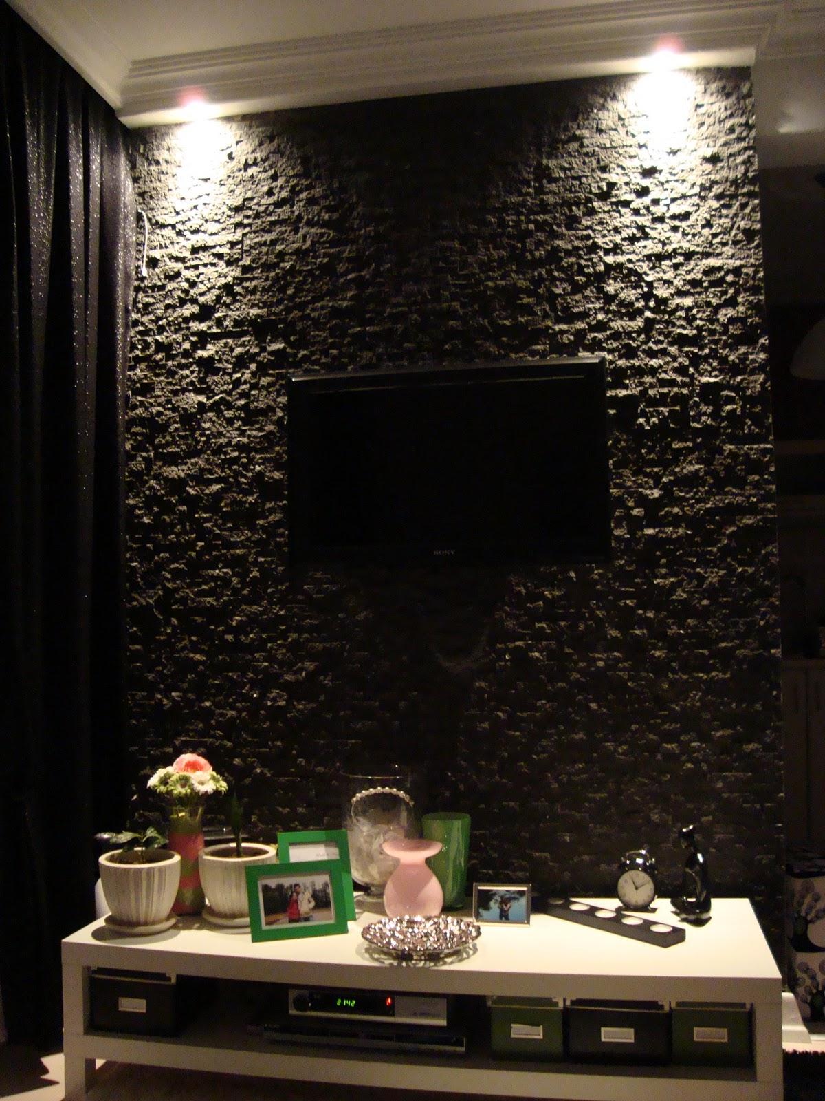 siyah taş duvar kaplama