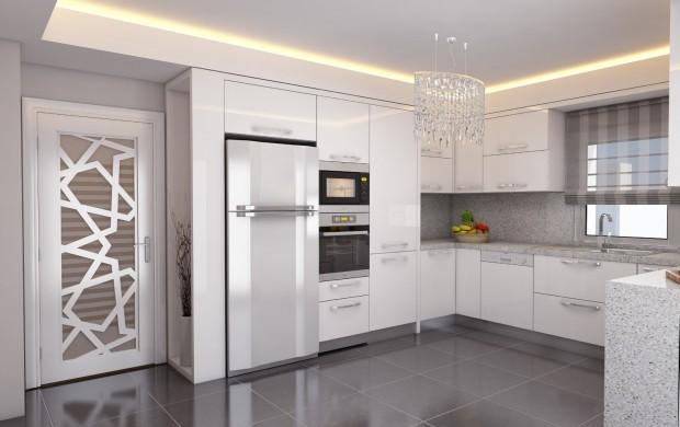 son trend muhteşem çok güzel beyaz renk tonlarında mutfak kitchen tasarımı modeli örneği