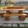 ahşap bahçe masası ve tabure