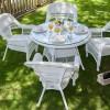 camlı yuvarlak bahçe masası