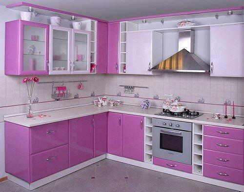 çok güzel beyaz ve pembe mutfak kitchen modeli örneği tasarımı