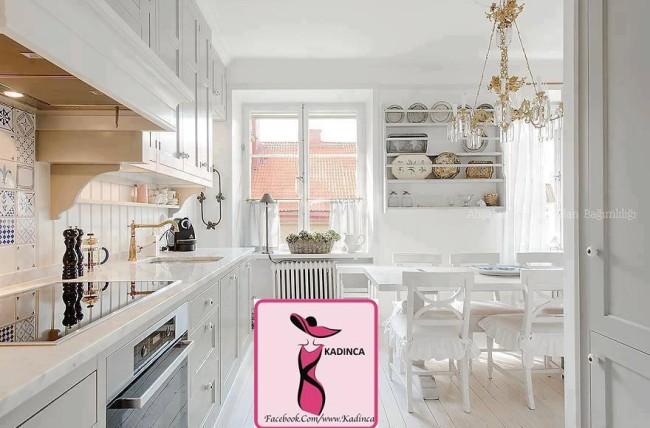 beyaz ve ferah mutfak dekorasyonu