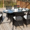 siyah oval bahçe masası
