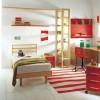 Ahşap kırmızı iki renkli modoko genç odası tasarımları