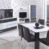 Beyaz gri tasarımlı parlak lake yemek odası tasarımları