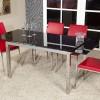 Camlı metal ayaklı modern masko masa sandalye örnekleri
