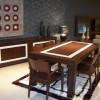 Kahve üzeri beyaz çizgili lake yemek odası tasarımları