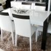 Kahverengi ayaklı beyaz parlak lake yemek odası tasarımları