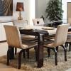 Kahverengi masa takımlı krem kapaklı lake yemek odası takımları