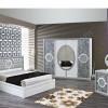 Yaprak desenli beyaz modoko yatak odası tasarımları