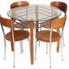 Yuvarlak cam mutfak için masko masa sandalye örnekleri