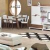 kahverengi beyaz yemek odası takımı