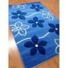 mavi çiçekli halı