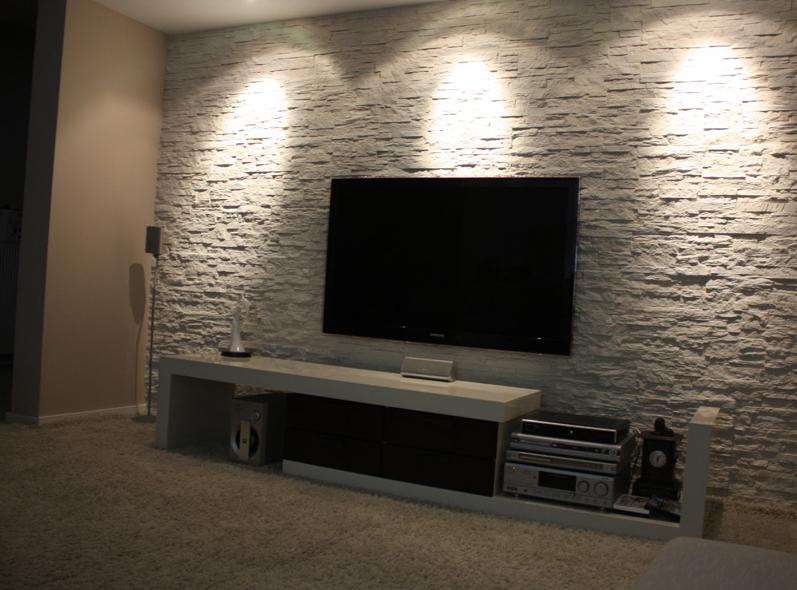 Plazma Tv Taş Duvar Kaplama Tasarımı