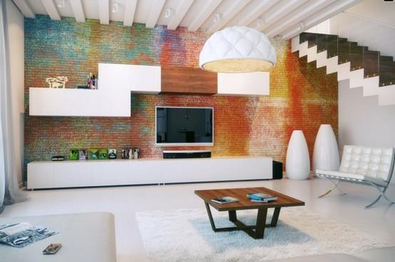 Televizyon Arkası Renkli Taş Duvar Kaplama Modeli