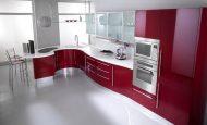İhtişamlı Kırmızı Mutfaklarda