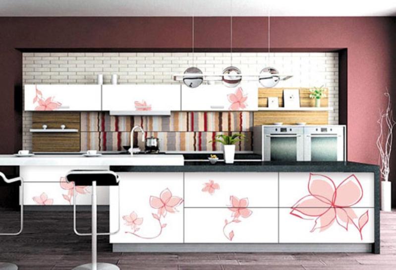 cicek desenli mutfak